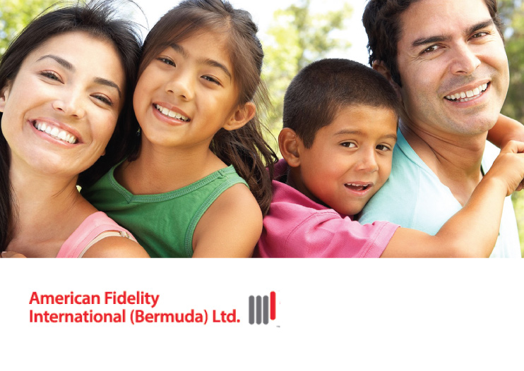 Hispanic family smiling together, american fidelity international bermuda limited logo in corner