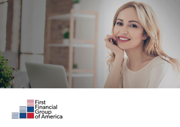 young female adult working at laptop computer and smiling, first financial group of america logo in corner